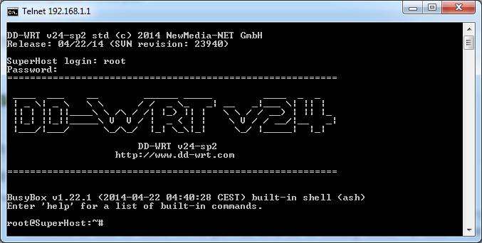 Accessing DD-WRT Through Telnet in Windows