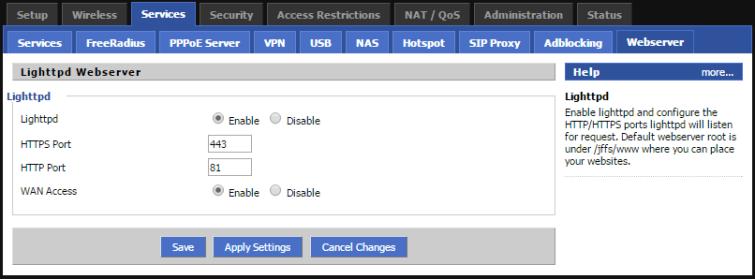 DD-WRT Services Webserver