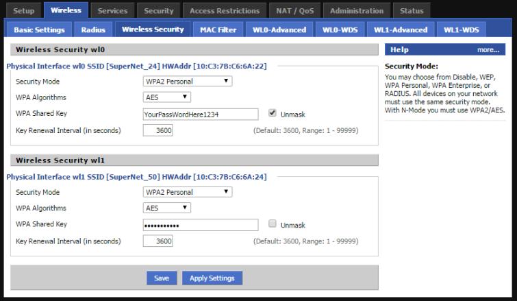 DD-WRT Wireless Security Settings