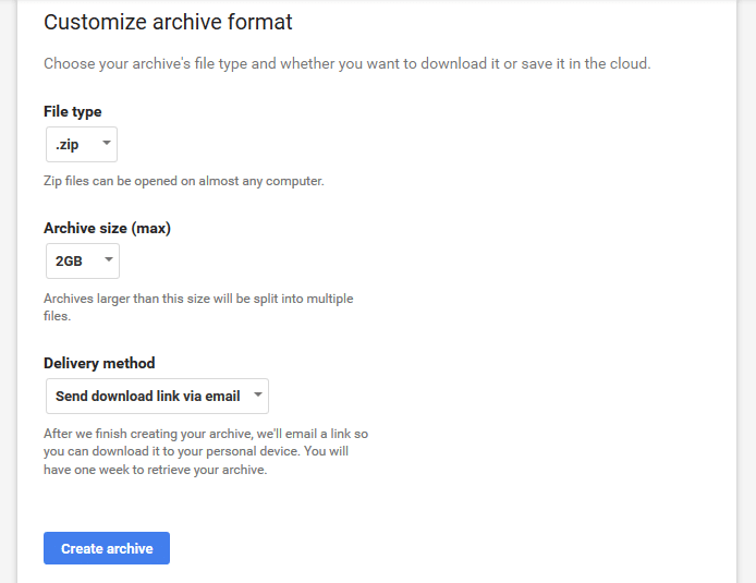 customize Google archive