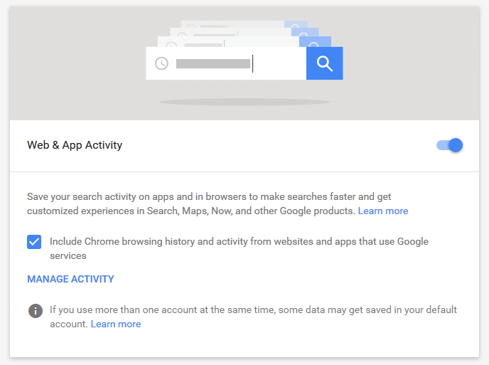 disable Google web and app