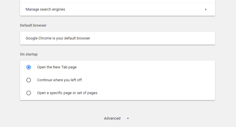 The Advanced Settings option in Google Chrome