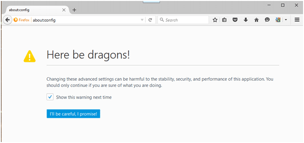 The Firefox configuration warning message