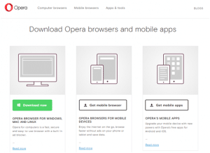 The Opera browser Download page