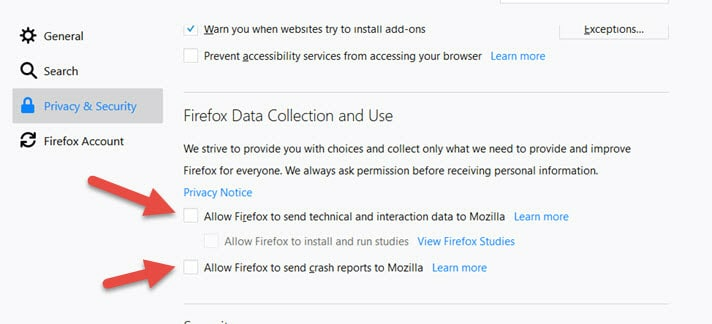 Firefox Data Collection - Disable Telemetry