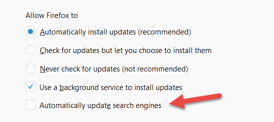 Firefox Search Engine Automatic Update