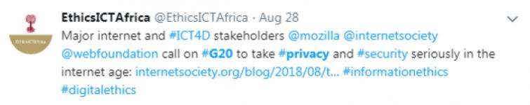 Ethics ICT Africa Tweet