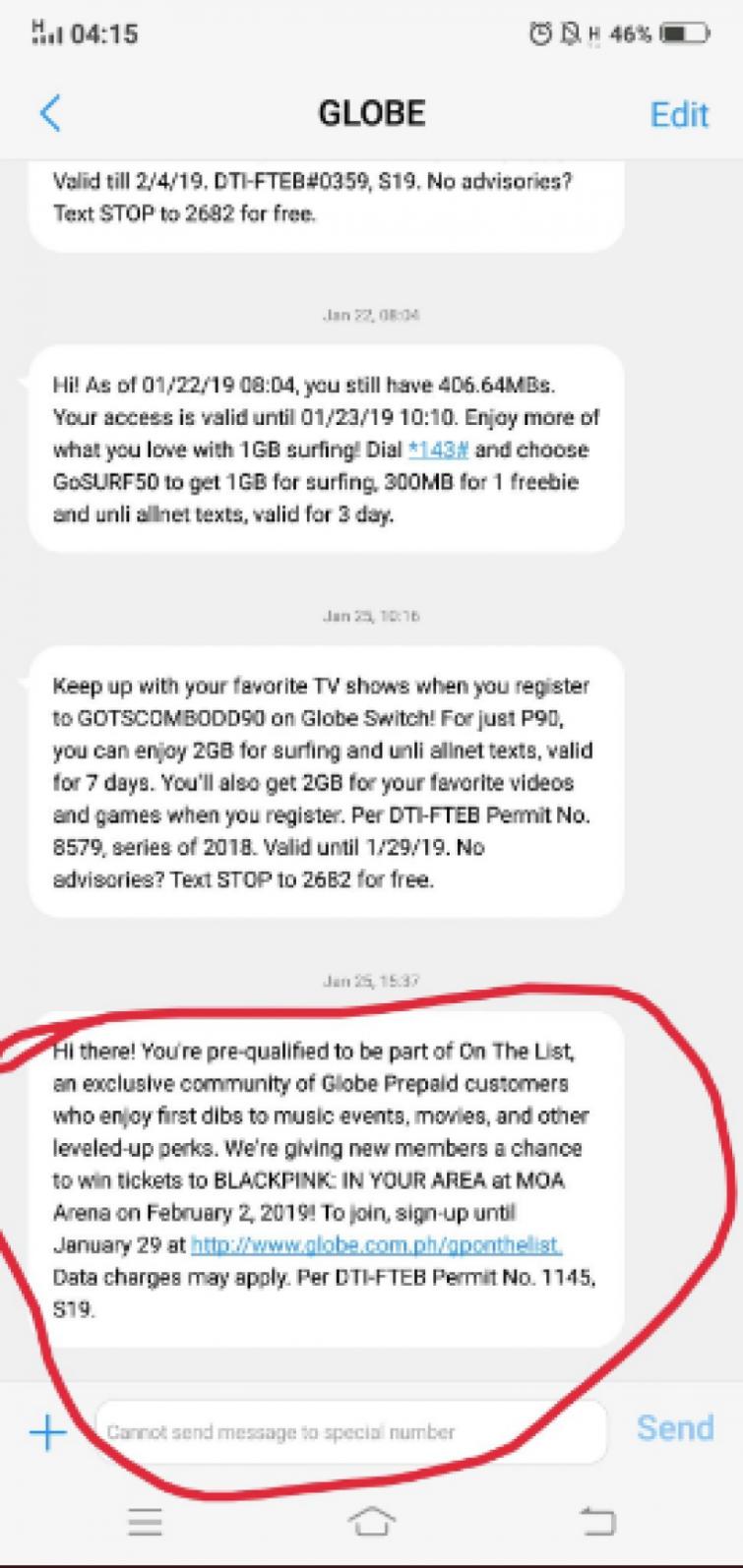 Screenshot of Globe communication