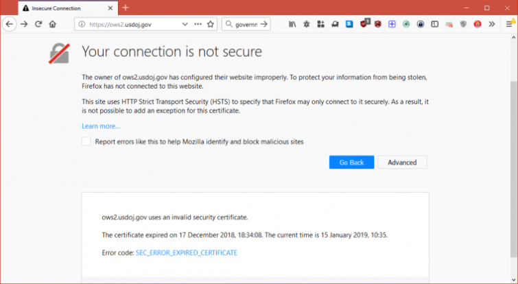 HSTS warning in browser
