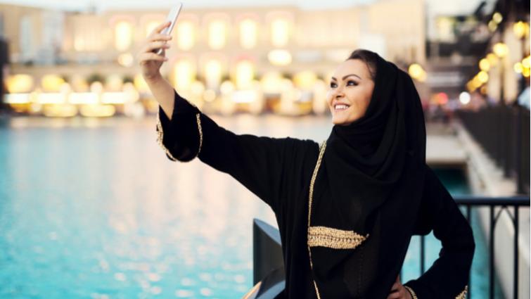 Arabic woman takes a selfie