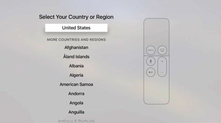 Change region on Apple TV