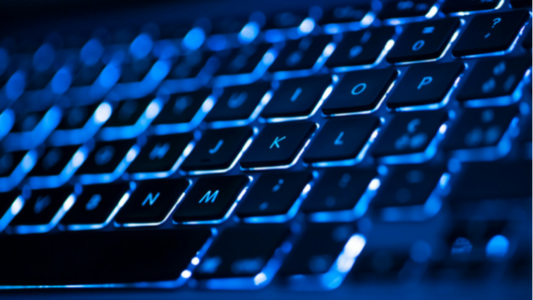 A back-lit connected keyboard