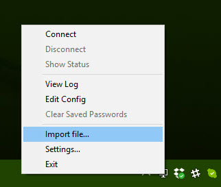 importing a file right click